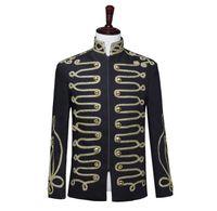 Blazer nero abiti da uomo disegni giacca mens stage stand colletti cantanti abiti uniformi militari vestito punk rock masculino homme