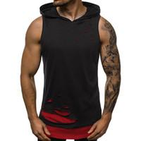 Erkekler Kapşonlu Tank Top Gym Spor Yelek Hip Hop Kapüşonlular Kolsuz Gömlek 2Layer Spor Atlet Delik Camiseta Tirantes Hombre Ripped