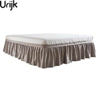 Urijk Free Shipping Hotel Elastic Bed Skirt 4 Colors Suede Fabric for King Queen Size Dust Ruffle Pastoral Style Fit Bedspread