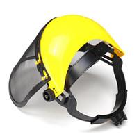 الأصفر السلامة خوذة كامل الوجه قناع بالمنشار Brushcutte شبكة ل جزازة العشب الانتهازي فرشاة القاطع