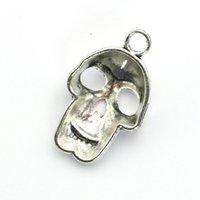 Оптовая продажа-посеребренный череп скелет подвески подвески для изготовления ювелирных изделий DIY ожерелье браслет ремесло 37x24mm
