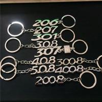금속 자동차 로고 키 체인 206207301307308408508 2008 3008 4008 열쇠 고리 열쇠 고리 링 Fob Rope 선물