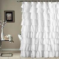 Branca Cor lisa Waterproof ondulado Borda Shower Curtain Ruffled Banho Cortina Decoração Bath Cortinas 180X180cm Home Decor
