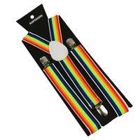 2.5x100cm Arcobaleno Stripe Cinghie Donne / Man Y-Back Adult Brescia Adulto Clip-on Bretelle elastiche Bretelle regolabili Bretelle a righe NUOVO GGA2859