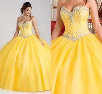 Роскошный кристалл из бисера желтого шарикового платья Quinceanera Платья на заднем платье на шнуровке