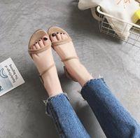 New Mode Femme Sandales Designer épais talon bas talon Boucle avec Open Toe Parti robe des femmes Chaussures de mariage une boucle apporter des chaussures