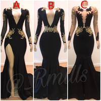 2019 Prom Dresses Sirena sexy oro pizzo applique scollo a V maniche lunghe Illusion High Side Split Sweep treno abiti da sera eleganti formali