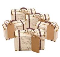 Mini Bavul Favor Kutusu Şeker hediye çantası Vintage Kraft Kağıt Etiketleri ile Çuval Sicim Düğün Seyahat Temalı Parti Gelin Duş için dekorasyon