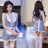 Sexy Uniforme Set uniforme Servant Low Bosom Mini Shirts Dress Love Sexy Lingerie Set Women Clothes Drop Ship 410002