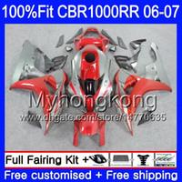 Корпус впрыска + бак для HONDA серый красный капот CBR1000 RR CBR 1000 RR 2006 2007 276HM.44 CBR 1000RR 06-07 CBR1000RR 06 07 OEM обтекатели комплект