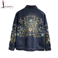 Spring Women Embroidery Flowers Plus Size 5xl Short Denim Ja...