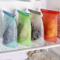 Многоразовые силиконовые хранения продуктов Сумка Креативный моющийся Ziplock Сумки Фрукты Овощной Sundries Замороженный Организатор сумка для хранения TTA1358-3