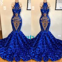 Blue Mermaid Prom Kleider 2019 Abendkleid Party Pageant Gowns Rose Floral Rock Spezielle Anlässe Kleid Dubai 2k19 Schwarz Mädchen Paar Tag