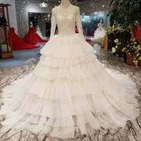 O- Neck Long Sleeves Lace Up Back Wedding Dress Bridal Gowns ...