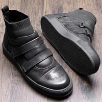 Sıcak Satış-uine Deri Kanca Döngü Bilek Boots Man Casual Çizme Boy Trendy Çorap Sneakers Ayakkabı