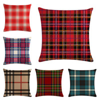 Plaid Printed Pillow Case Printed Flax Pillowslip Bedding de...