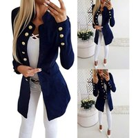 New Long Trench Coat Single Breasted Stand Collar Coat Women...