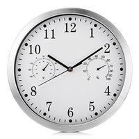 Timelike IH - 6708TH Parede Silenciosa Metal Relógio Termômetro Higrômetro Art Decor