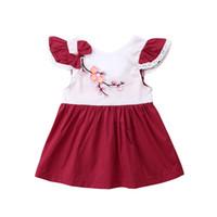 Vestido floral del partido del bordado del cordón de la vendimia 0M-3T princesa recién nacido del niño del verano del bebé