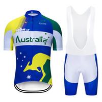 2020 Yaz Yeni Avustralya Bisiklet Jersey Kısa Kollu Set Maillot Ropa Ciclismo Üniforma Hızlı Kuru Bisiklet Giyim MTB Döngüsü Giysileri