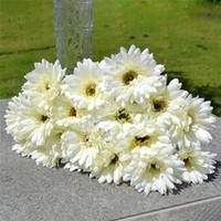 10pcs / Lot Gerbera fleurs artificielles pour la décoration en soie Bouquet de tournesol Fleurs de mariage de jardin Partie à la maison Décor
