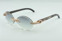 Neuesten T3524016-9 Schneidlinsen Diamanten Sonnenbrillen, natürliche schwarze textrued Büffelhorn Beine retro oval Gläser, Größe: 58-18-140mm