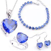 LuckyShine Классический Для женщин Ювелирные наборы Сердце Циркон Серьги Подвески Кольца Браслет 925 стерлингового серебра гальваническим невесты для свадебных Jewelr