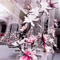 80CM الاصطناعي زهرة ماغنوليا كبيرة رغوة زهرة رئيس في الهواء الطلق موضوع زهرة وهمية الزفاف خلفية تصميم الديكور عرض حزب ديكور