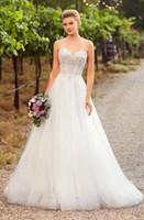 Формальные платье Платье-де-Novia линия Свадебные платья без бретелек Милая декольте рукавов свадебное платье Свадебные платья бисером лиф невесты