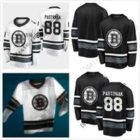 Pas cher 2019 AllStar Jerseys Hommes 88 David Pastrnak Boston Bruins Noir Blanc Blank Top Qualité Hommes 2019 AllStar Patch Maillot De Hockey