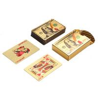 Poker-Karte Gold Silber Folie Dollar Spielkarten Wasserdicht Luxuxgold überzogener Euro Pokers Für Geschenk-Ansammlung Freies Verschiffen