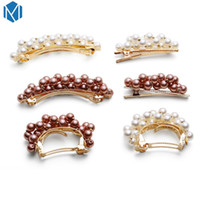 Hot Sale Metal Faux Pearl Hair Clip For Womens Gold Silver R...