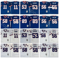 NCAA 축구 56 Lawrence Taylor 89 Mark Bavaro 11 Phil Simms Jersey 53 해리 카슨 58 Carl Banks 남자 빈티지 블루 화이트