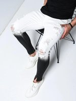E-Baihui 2020 Summer Gradient Hole Jeans Men's Tide Brand Slim Korean Small Feet Nine-point Pants Trend Scrape Beggar Pants 818