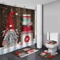 Feliz Natal Bath Waterproof Shower Curtain Natal Papai Noel Bath Mat tampa do vaso capa de poliéster / flanela Shower Curtain T200102