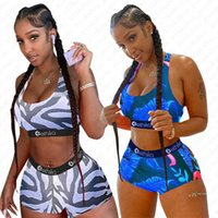Damen-Badeanzug Cartoon-Blatt-gestreifter Druck Swimwear Up BH Tank-Top Vest Shorts 2pcs Frauen drückt Bikini-Sets Crop Top Bademode Outfits D5610