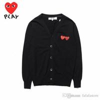 2018 BestQuality Com Des Garcons C218-1 Siyah kazak pamuk hırka Unisex Rahat Ince V Yaka Sweatershirts CDG Erkekler Kadınlar Hoodie Ceket Oyna
