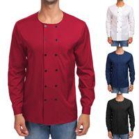 Nueva camisa de la moda de los hombres de doble botonadura o-cuello de manga af1005392e6