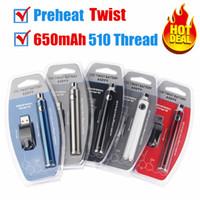Top Preriscaldamento Evod Twist 650mAh Vision2 Battery VV Votaggio VA variabile regolabile e sigarette cigs sigarette Atomizer cartucce