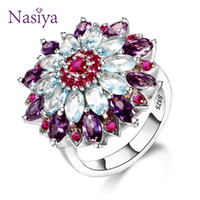Gemstone Flower Shape Wedding Ring New Design Silver 925 Jew...