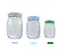 Pote de pedreiro Em Forma de Recipiente De Alimento De Plástico Saco Claro Garrafa Mason Modelagem Zíperes Snacks De Armazenamento Frete Grátis SN1654
