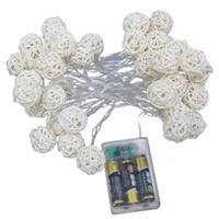 Cadena de luz de ratán LED 1.5m 2.5m 5m Bola de ratán LED Luces de hadas para la Navidad Lámparas de decoración de la fiesta de boda