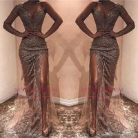 Sexy African Sheath Prom Party Dresses Sequined One Shoulder...