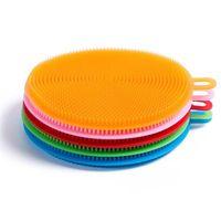 Круглая форма Многофункциональный Кухня Стиральная инструмент Силиконовые Скрубберы силиконовая губка для мытья посуды Щетка для очистки Кисти для Пот Пан Блюдо Чаша
