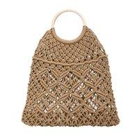 Designer-Women's Fashion Straw Woven Bag Solid Color Handbag Button Decoration Wild Hollow Beach Bag Linen Main Material Hot Apr 16
