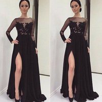 Fashion Women Prom Dresses Long Sleeves A- line Split Evening...