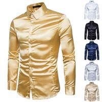 Mens Fashion satin brillant Chemises Habillées de mariage d'affaires décontractée à manches longues Automne Pré-simple chute Slim Tops Fitting