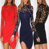 Sexy Summer Hollow Lace Dress Women Cotton Long Sleeve Slim ...