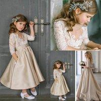 Champagne ragazze di fiore abiti ed il vestito della madre gioiello collo Maniche 3/4 Illusion Applique del merletto Raso Abiti compleanno di ragazze Pageant Abiti