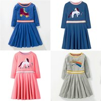 4 colors INS unicorn for girls dresses kids designer clothes...